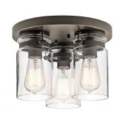 Brinley 3 Light Flush in Olde Bronze with Glass Shades - KICHLER KL/BRINLEYF OZ